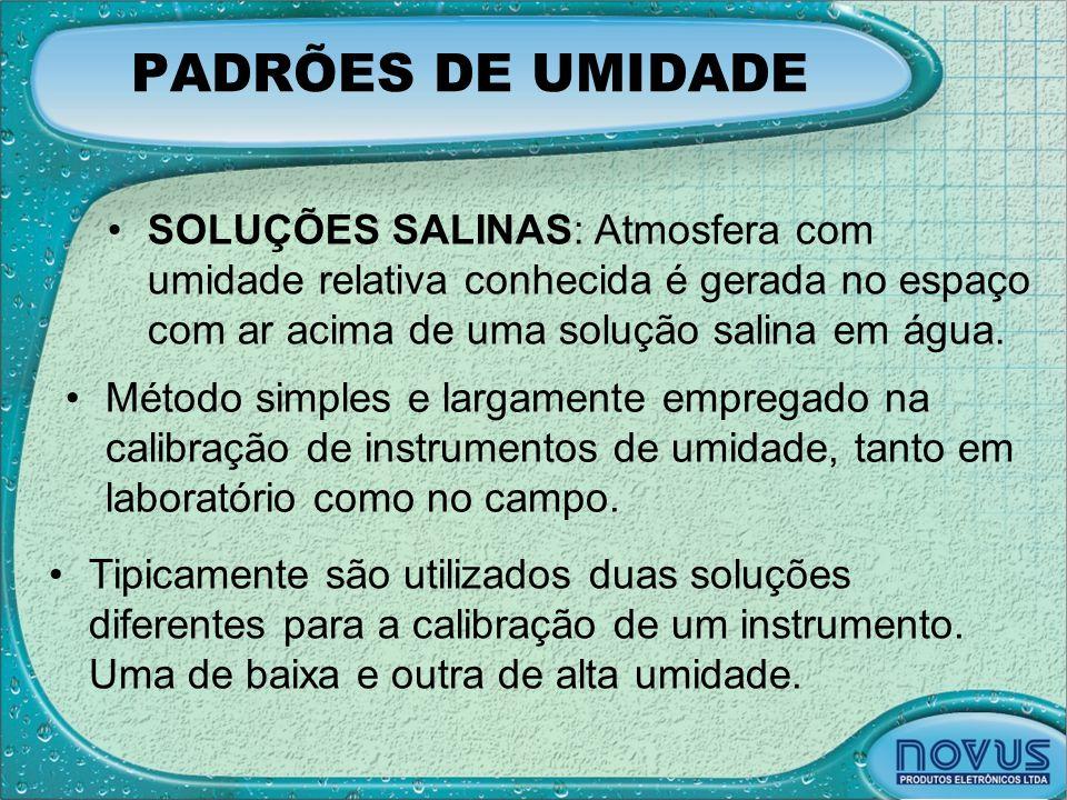 PADRÕES DE UMIDADE •SOLUÇÕES SALINAS: Atmosfera com umidade relativa conhecida é gerada no espaço com ar acima de uma solução salina em água. •Método