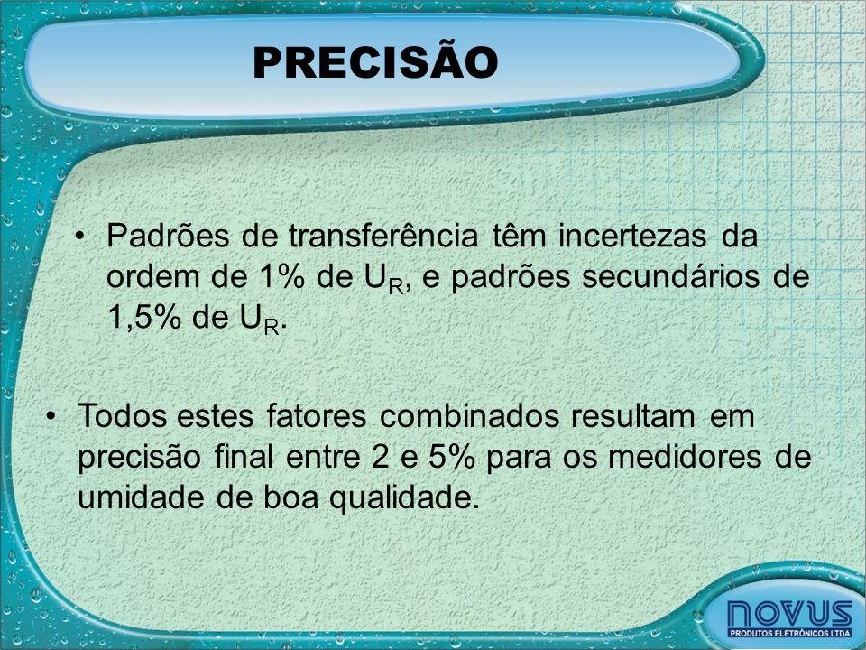 PRECISÃO •Padrões de transferência têm incertezas da ordem de 1% de U R, e padrões secundários de 1,5% de U R. •Todos estes fatores combinados resulta