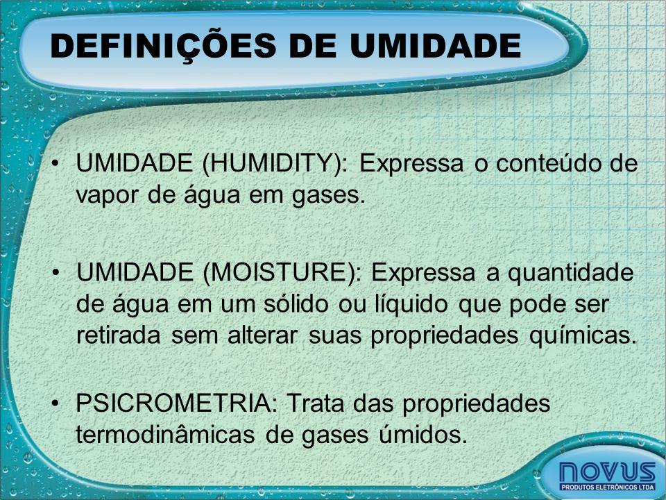 DEFINIÇÕES DE UMIDADE •UMIDADE (HUMIDITY): Expressa o conteúdo de vapor de água em gases. •UMIDADE (MOISTURE): Expressa a quantidade de água em um sól