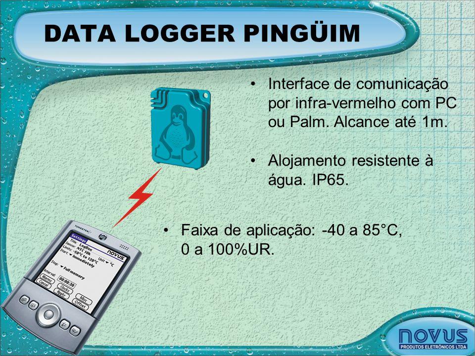 DATA LOGGER PINGÜIM •Faixa de aplicação: -40 a 85°C, 0 a 100%UR. •Interface de comunicação por infra-vermelho com PC ou Palm. Alcance até 1m. •Alojame