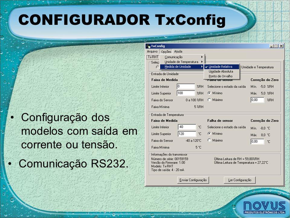 CONFIGURADOR TxConfig •Configuração dos modelos com saída em corrente ou tensão. •Comunicação RS232.