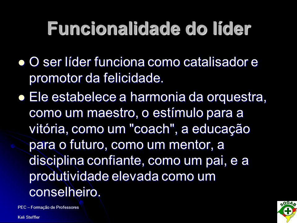 PEC – Formação de Professores Keli Steffler Funcionalidade do líder  O ser líder funciona como catalisador e promotor da felicidade.  Ele estabelece