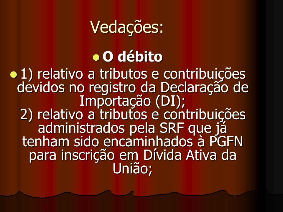 Vedações à Compensação AAAAlém das hipóteses previstas nas leis específicas de cada tributo ou contribuição administrados pela SRF, não poderá ser