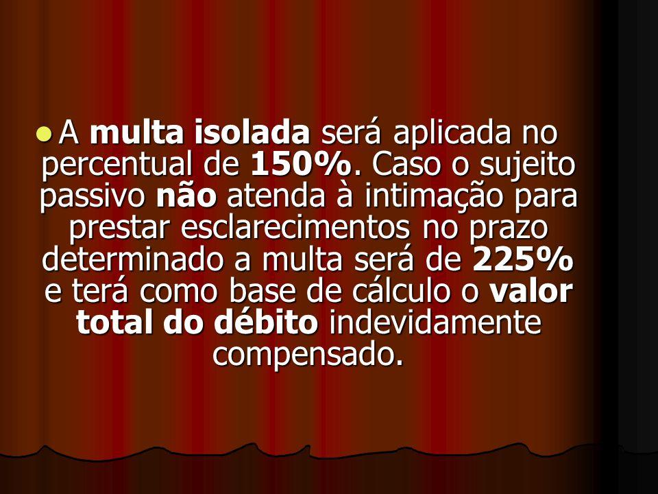 Punições para Compensações Vedadas SSSSerá lançada multa isolada em razão da não-homologação de compensação declarada pelo sujeito passivo nas hip