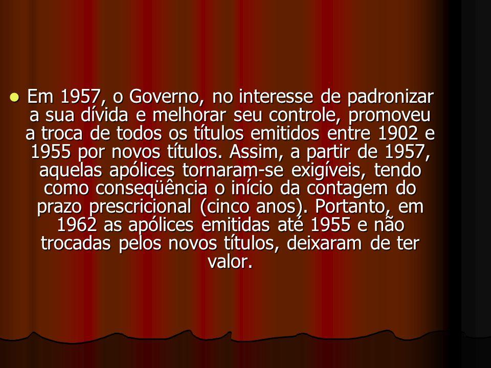 Apólices da Dívida Interna AAAAté a segunda metade do século XX, o governo brasileiro em diversas ocasiões emitiu títulos com a finalidade de capt