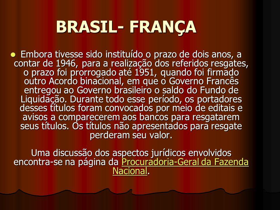Apólices Emitidas em Francos Franceses - Acordo Brasil-França Nas décadas de 1940 e 1950, foram firmados Acordos entre os Governos do Brasil e da Fran