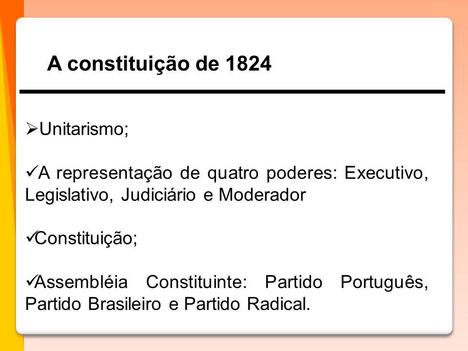 A constituição de 1824  Unitarismo;  A representação de quatro poderes: Executivo, Legislativo, Judiciário e Moderador  Constituição;  Assembléia