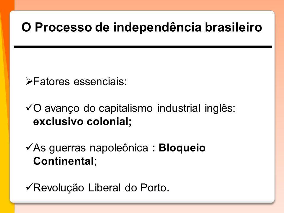 O Processo de independência brasileiro  Fatores essenciais:  O avanço do capitalismo industrial inglês: exclusivo colonial;  As guerras napoleônica : Bloqueio Continental;  Revolução Liberal do Porto.