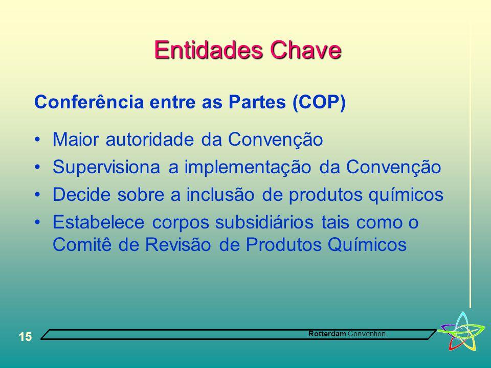 Rotterdam Convention 15 Entidades Chave Conferência entre as Partes (COP) •Maior autoridade da Convenção •Supervisiona a implementação da Convenção •D