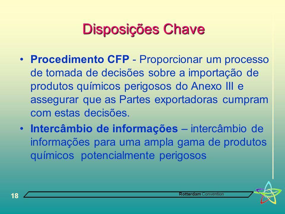 Rotterdam Convention 18 Disposições Chave •Procedimento CFP - Proporcionar um processo de tomada de decisões sobre a importação de produtos químicos p