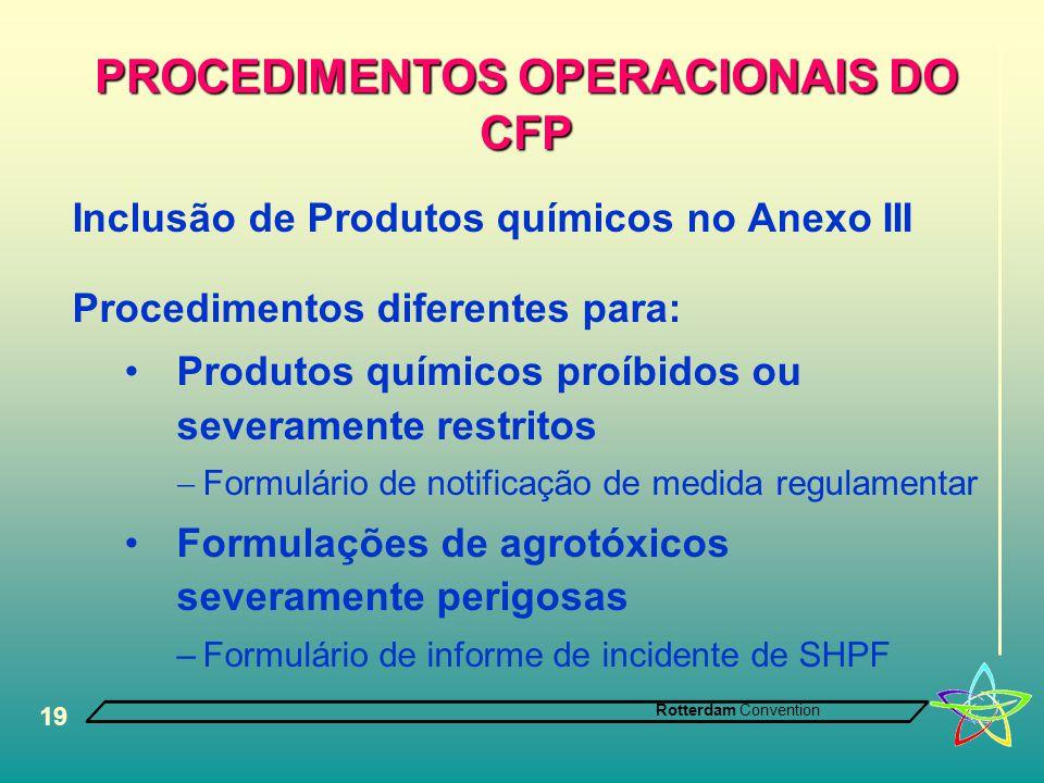 Rotterdam Convention 19 PROCEDIMENTOS OPERACIONAIS DO CFP Inclusão de Produtos químicos no Anexo III Procedimentos diferentes para: •Produtos químicos