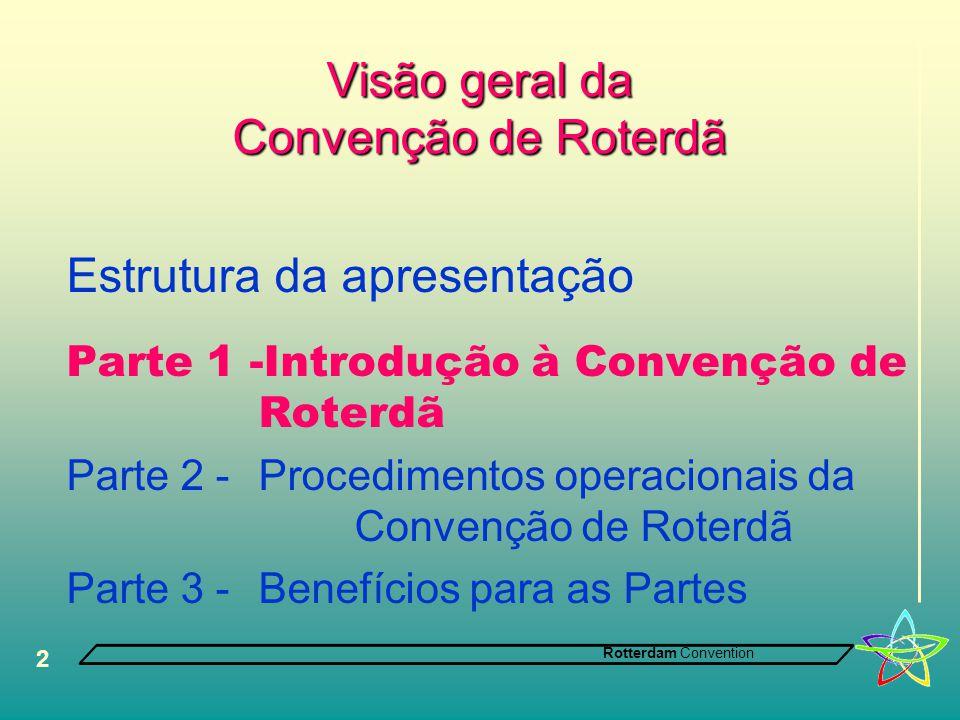 Rotterdam Convention 2 Visão geral da Convenção de Roterdã Estrutura da apresentação Parte 1 -Introdução à Convenção de Roterdã Parte 2 - Procedimentos operacionais da Convenção de Roterdã Parte 3 -Benefícios para as Partes