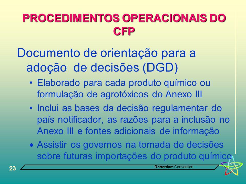 Rotterdam Convention 23 PROCEDIMENTOS OPERACIONAIS DO CFP Documento de orientação para a adoção de decisões (DGD) •Elaborado para cada produto químico