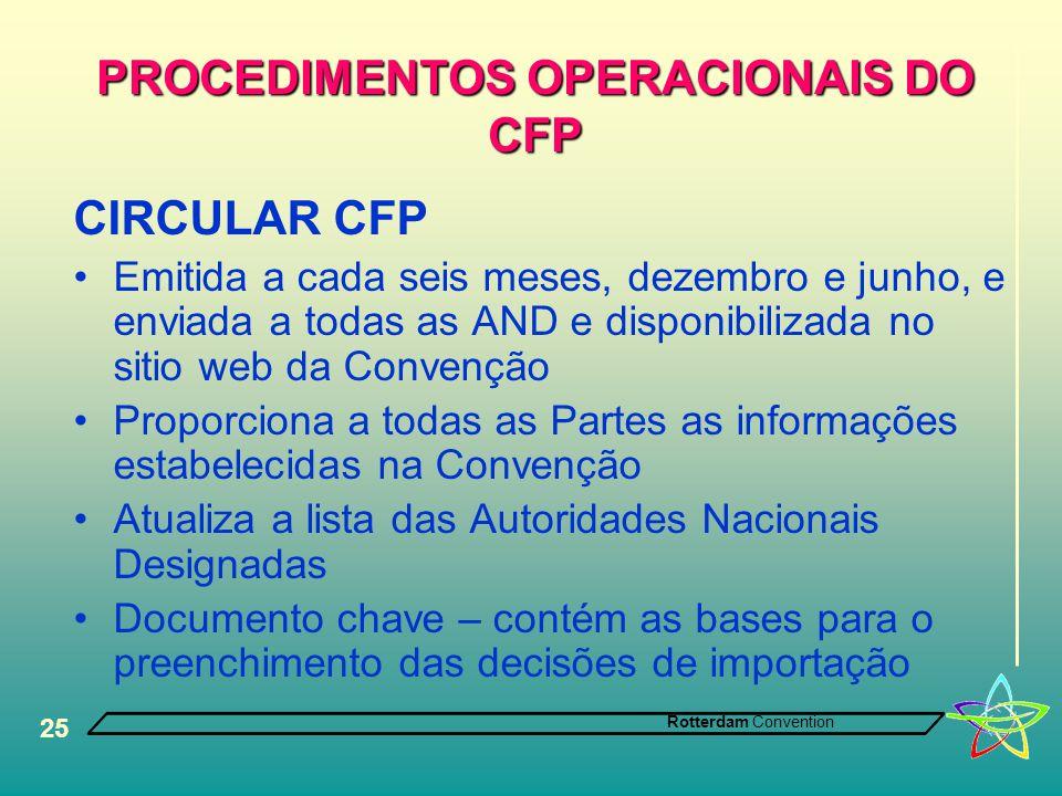 Rotterdam Convention 25 PROCEDIMENTOS OPERACIONAIS DO CFP CIRCULAR CFP •Emitida a cada seis meses, dezembro e junho, e enviada a todas as AND e dispon