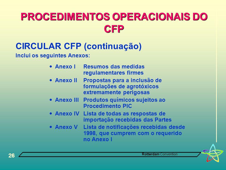 Rotterdam Convention 26 PROCEDIMENTOS OPERACIONAIS DO CFP CIRCULAR CFP (continuação) Inclui os seguintes Anexos:  Anexo IResumos das medidas regulame