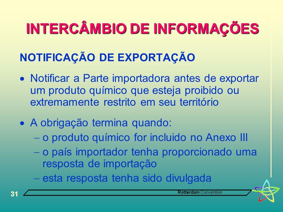 Rotterdam Convention 31 INTERCÂMBIO DE INFORMAÇÕES NOTIFICAÇÃO DE EXPORTAÇÃO  Notificar a Parte importadora antes de exportar um produto químico que