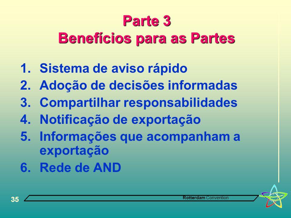 Rotterdam Convention 35 Parte 3 Benefícios para as Partes 1.Sistema de aviso rápido 2.Adoção de decisões informadas 3.Compartilhar responsabilidades 4.Notificação de exportação 5.Informações que acompanham a exportação 6.Rede de AND