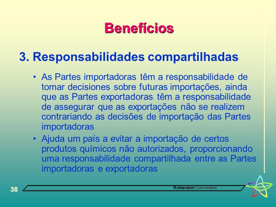 Rotterdam Convention 38 Benefícios 3. Responsabilidades compartilhadas •As Partes importadoras têm a responsabilidade de tomar decisiones sobre futura