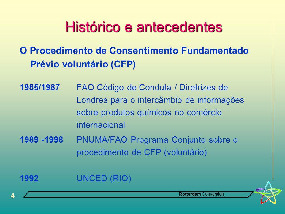 Rotterdam Convention 4 Histórico e antecedentes O Procedimento de Consentimento Fundamentado Prévio voluntário (CFP) 1985/1987FAO Código de Conduta / Diretrizes de Londres para o intercâmbio de informações sobre produtos químicos no comércio internacional 1989 -1998 PNUMA/FAO Programa Conjunto sobre o procedimento de CFP (voluntário) 1992 UNCED (RIO)