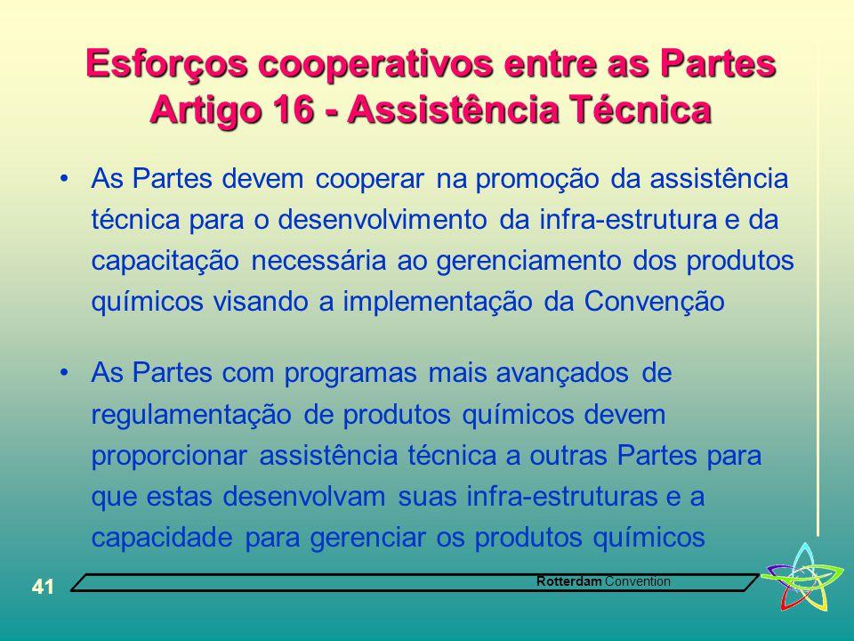 Rotterdam Convention 41 Esforços cooperativos entre as Partes Artigo 16 - Assistência Técnica •As Partes devem cooperar na promoção da assistência téc