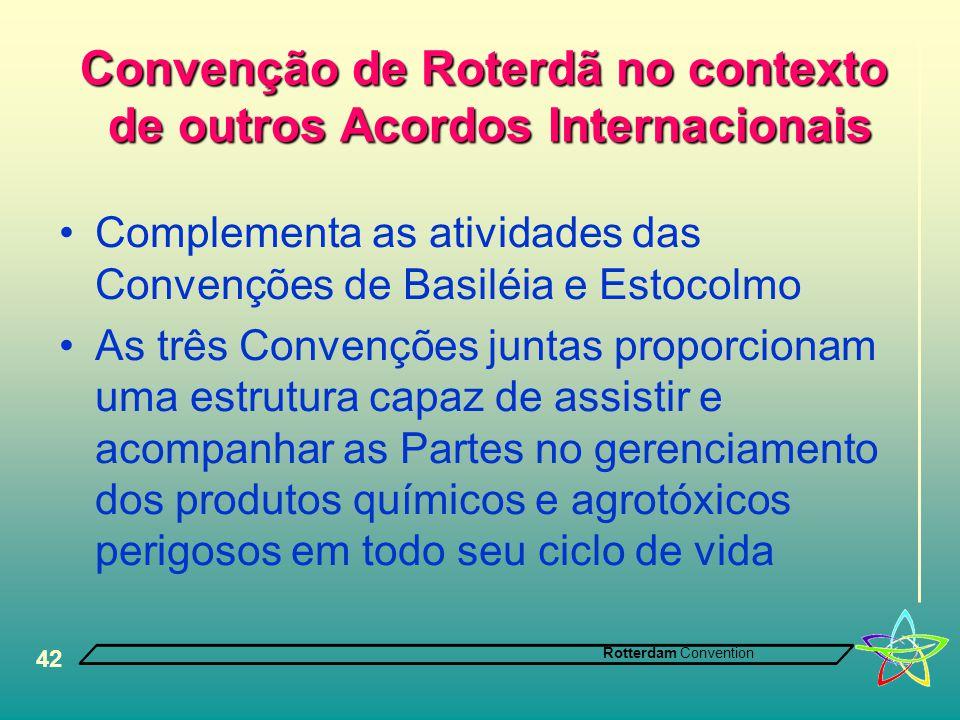 Rotterdam Convention 42 Convenção de Roterdã no contexto de outros Acordos Internacionais •Complementa as atividades das Convenções de Basiléia e Esto