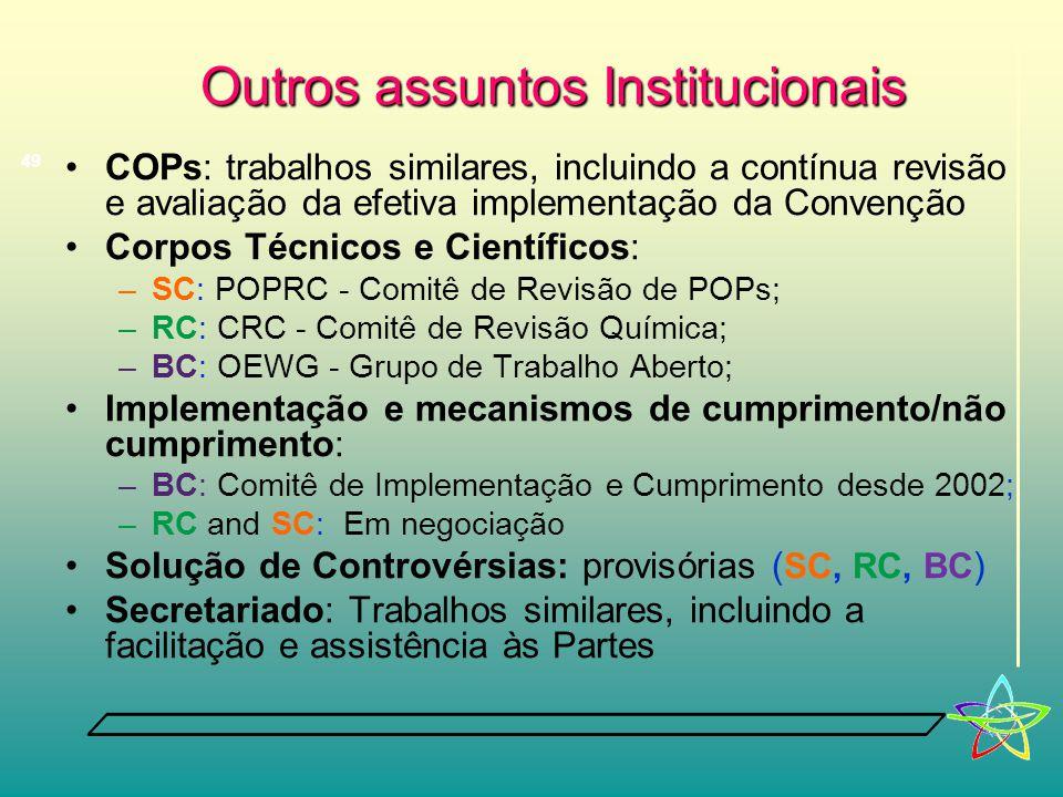 Outros assuntos Institucionais •COPs: trabalhos similares, incluindo a contínua revisão e avaliação da efetiva implementação da Convenção •Corpos Técnicos e Científicos: –SC: POPRC - Comitê de Revisão de POPs; –RC: CRC - Comitê de Revisão Química; –BC: OEWG - Grupo de Trabalho Aberto; •Implementação e mecanismos de cumprimento/não cumprimento: –BC: Comitê de Implementação e Cumprimento desde 2002; –RC and SC: Em negociação •Solução de Controvérsias: provisórias ( SC, RC, BC ) •Secretariado: Trabalhos similares, incluindo a facilitação e assistência às Partes 49