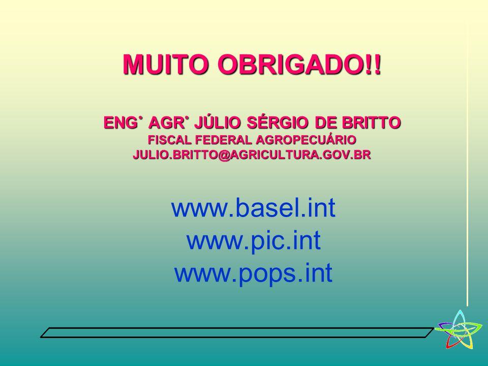 www.basel.int www.pic.int www.pops.int MUITO OBRIGADO!! ENG˚ AGR˚ JÚLIO SÉRGIO DE BRITTO FISCAL FEDERAL AGROPECUÁRIO JULIO.BRITTO@AGRICULTURA.GOV.BR