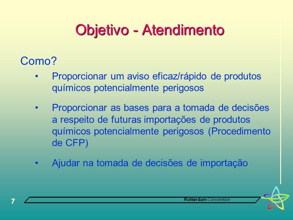 Rotterdam Convention 7 Objetivo - Atendimento Objetivo - Atendimento Como? •Proporcionar um aviso eficaz/rápido de produtos químicos potencialmente pe