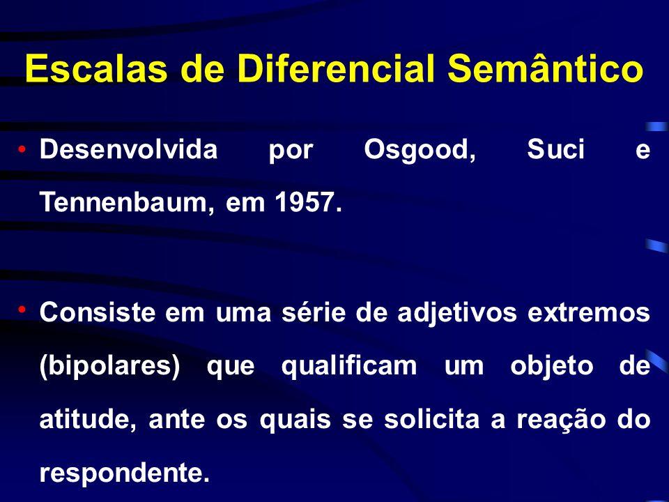 Alternativas de Escalas Likert As afirmações podem ter direção; favorável ou positiva e desfavorável ou negativa. A direção é fundamental para se sabe