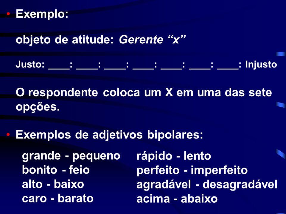 • • • • Escalas de Diferencial Semântico Consiste em uma série de adjetivos extremos (bipolares) que qualificam um objeto de atitude, ante os quais se