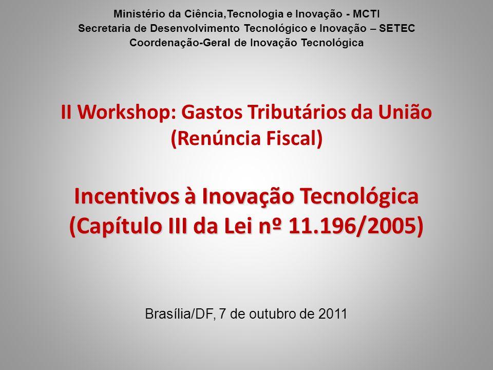 Ministério da Ciência,Tecnologia e Inovação - MCTI Secretaria de Desenvolvimento Tecnológico e Inovação – SETEC Coordenação-Geral de Inovação Tecnológ