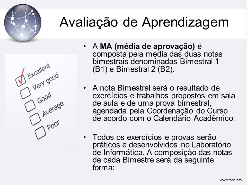 Avaliação de Aprendizagem •A MA (média de aprovação) é composta pela média das duas notas bimestrais denominadas Bimestral 1 (B1) e Bimestral 2 (B2).