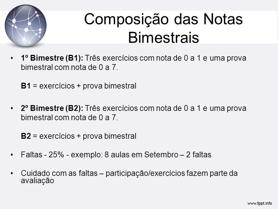Composição das Notas Bimestrais •1º Bimestre (B1): Três exercícios com nota de 0 a 1 e uma prova bimestral com nota de 0 a 7. B1 = exercícios + prova