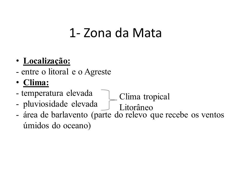 1- Zona da Mata • Localização: - entre o litoral e o Agreste • Clima: - temperatura elevada -pluviosidade elevada -área de barlavento (parte do relevo