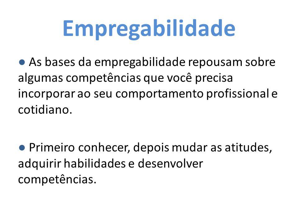 Competências ● Competência é tudo aquilo que conseguimos fazer e realizar, mesmo em condições inadequadas ou negativas.
