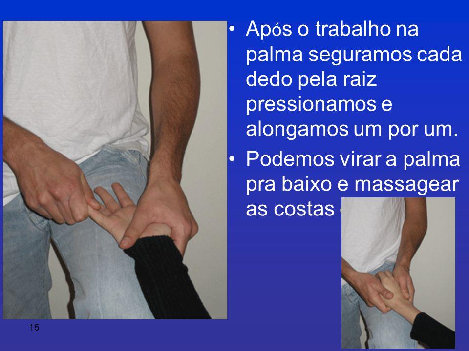 15 • Ap ó s o trabalho na palma seguramos cada dedo pela raiz pressionamos e alongamos um por um.