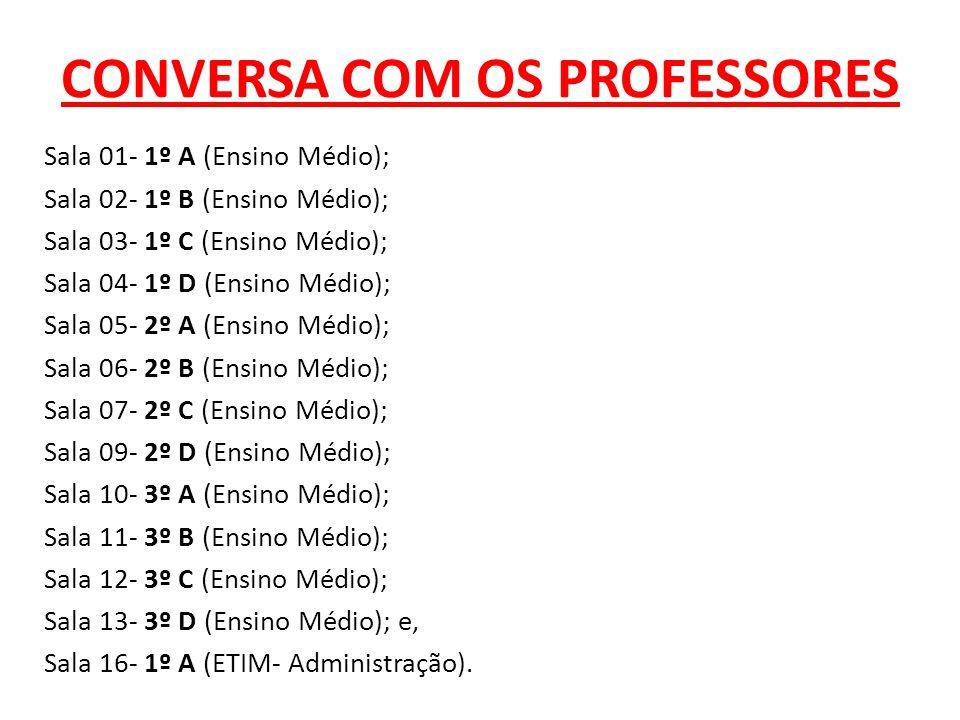 CONVERSA COM OS PROFESSORES Sala 01- 1º A (Ensino Médio); Sala 02- 1º B (Ensino Médio); Sala 03- 1º C (Ensino Médio); Sala 04- 1º D (Ensino Médio); Sa