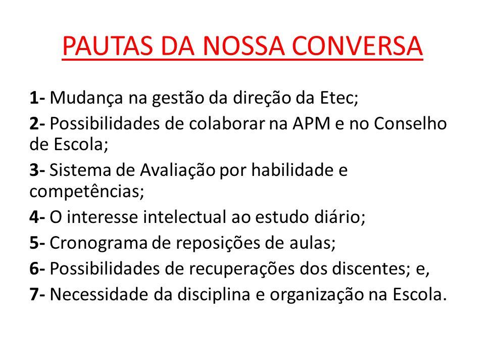 PAUTAS DA NOSSA CONVERSA 1- Mudança na gestão da direção da Etec; 2- Possibilidades de colaborar na APM e no Conselho de Escola; 3- Sistema de Avaliaç