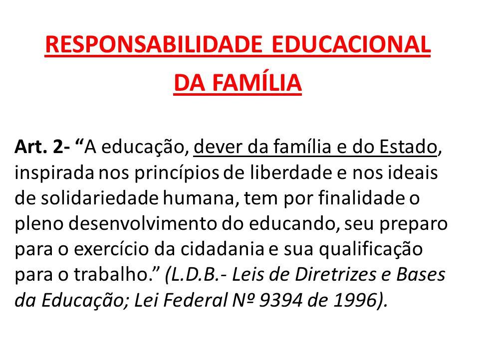 """RESPONSABILIDADE EDUCACIONAL DA FAMÍLIA Art. 2- """"A educação, dever da família e do Estado, inspirada nos princípios de liberdade e nos ideais de solid"""