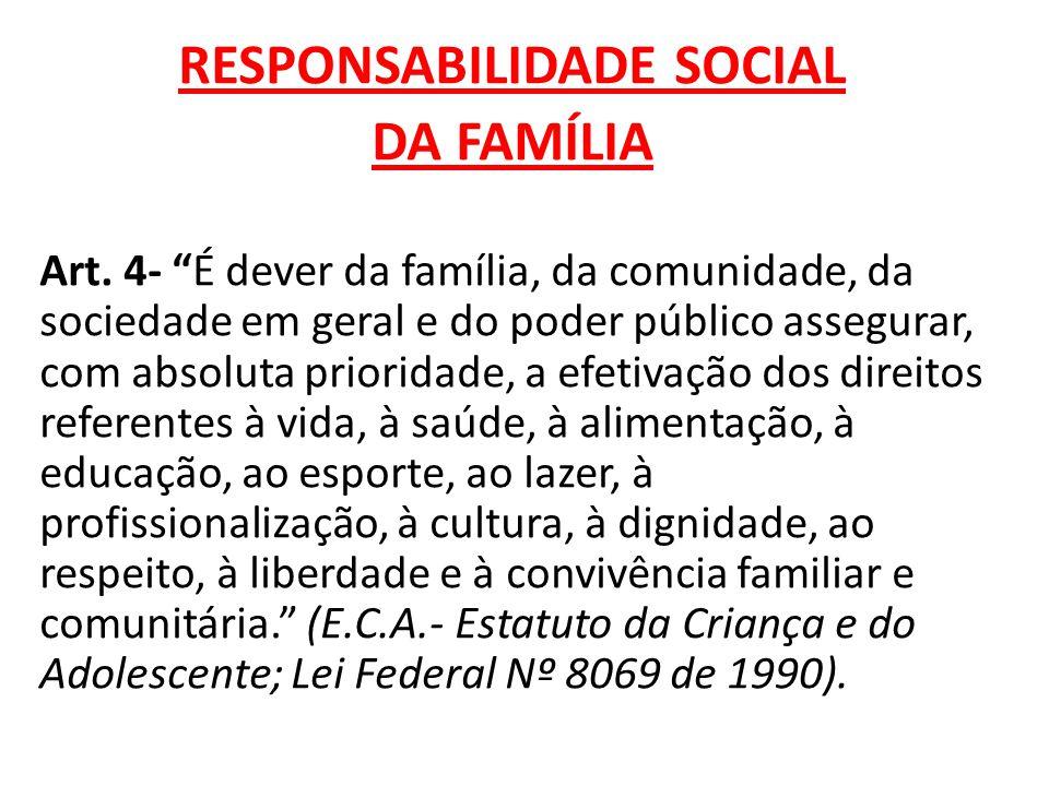 """RESPONSABILIDADE SOCIAL DA FAMÍLIA Art. 4- """"É dever da família, da comunidade, da sociedade em geral e do poder público assegurar, com absoluta priori"""