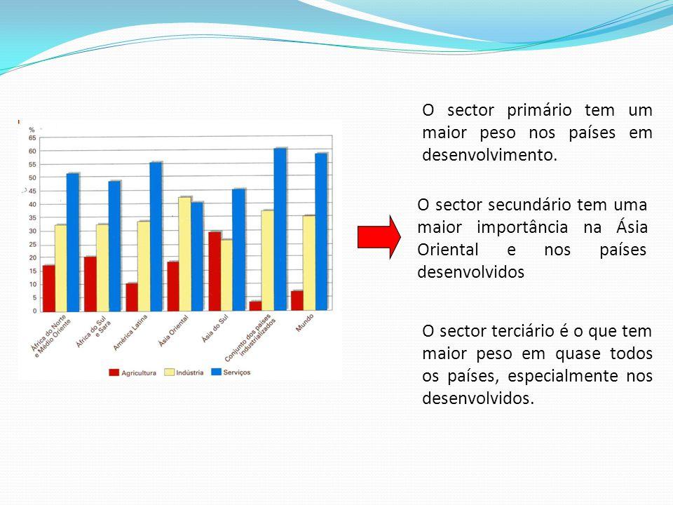 O sector primário tem um maior peso nos países em desenvolvimento. O sector secundário tem uma maior importância na Ásia Oriental e nos países desenvo