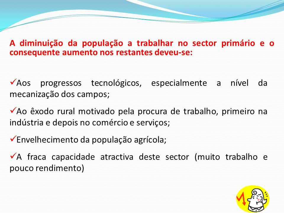 A diminuição da população a trabalhar no sector primário e o consequente aumento nos restantes deveu-se:  Aos progressos tecnológicos, especialmente