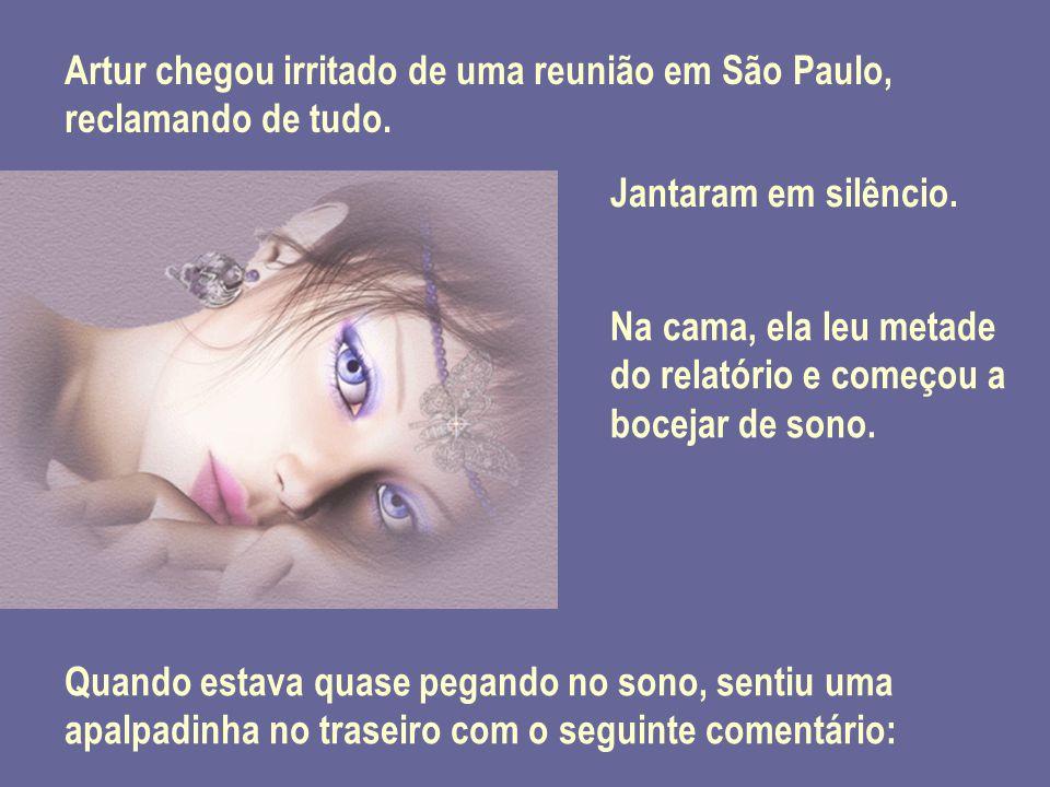 Artur chegou irritado de uma reunião em São Paulo, reclamando de tudo. Jantaram em silêncio. Na cama, ela leu metade do relatório e começou a bocejar