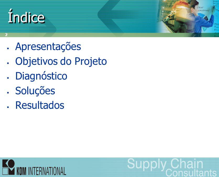 2 Índice • Apresentações • Objetivos do Projeto • Diagnóstico • Soluções • Resultados