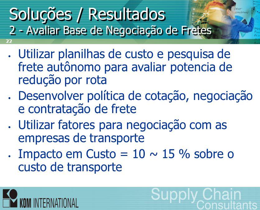 22 Soluções / Resultados 2 - Avaliar Base de Negociação de Fretes • Utilizar planilhas de custo e pesquisa de frete autônomo para avaliar potencia de