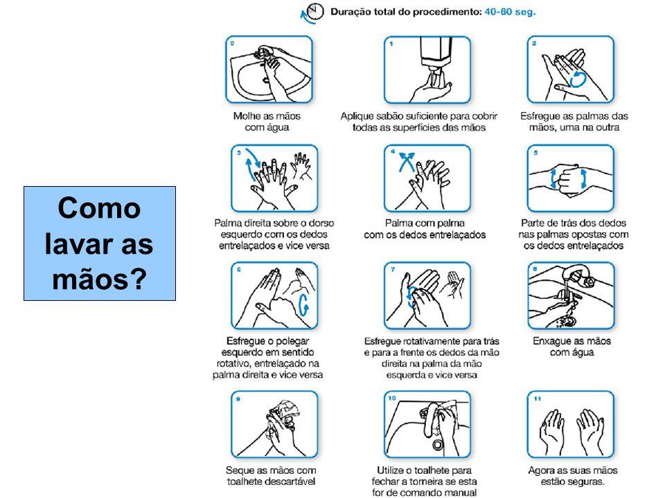Como lavar as mãos?