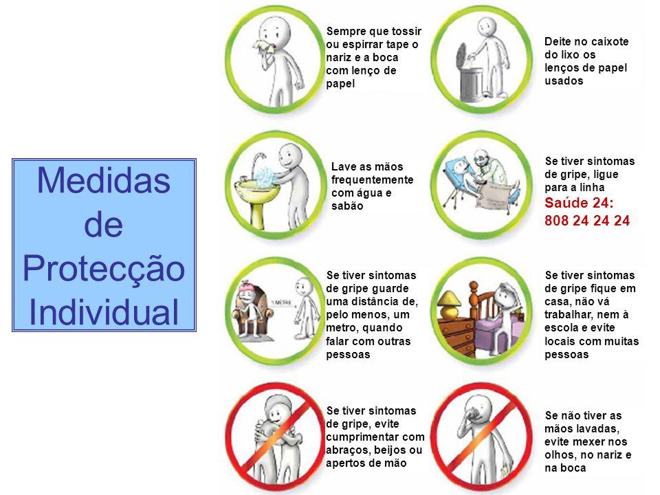Medidas de Protecção Individual Sempre que tossir ou espirrar tape o nariz e a boca com lenço de papel Deite no caixote do lixo os lenços de papel usa