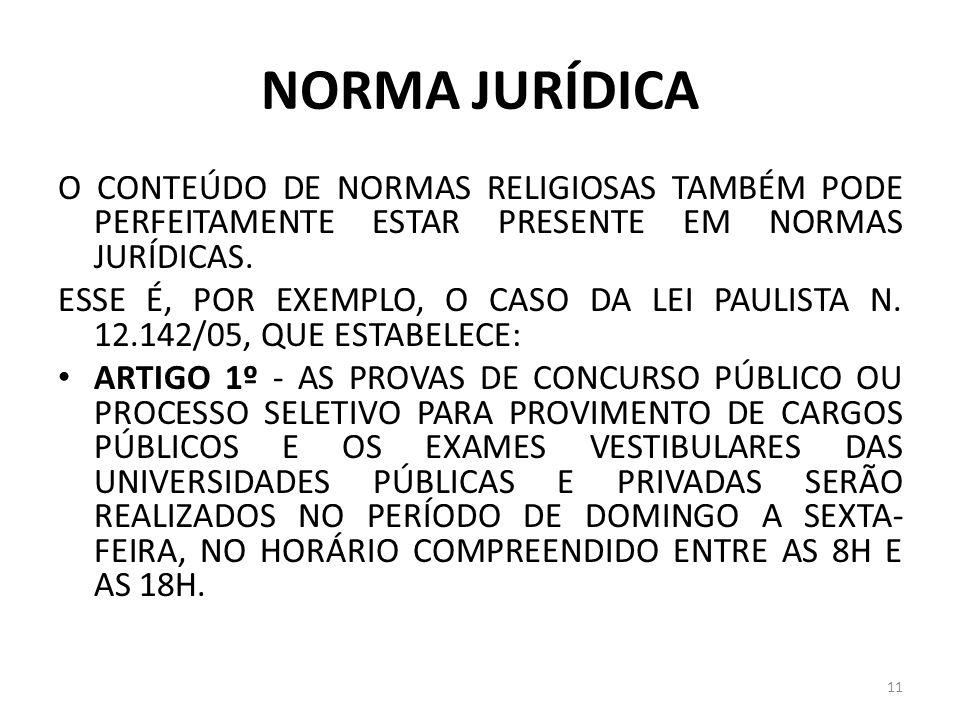 NORMA JURÍDICA O CONTEÚDO DE NORMAS RELIGIOSAS TAMBÉM PODE PERFEITAMENTE ESTAR PRESENTE EM NORMAS JURÍDICAS. ESSE É, POR EXEMPLO, O CASO DA LEI PAULIS