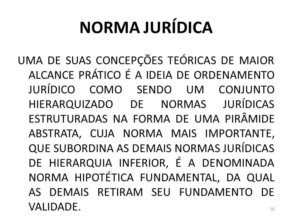NORMA JURÍDICA UMA DE SUAS CONCEPÇÕES TEÓRICAS DE MAIOR ALCANCE PRÁTICO É A IDEIA DE ORDENAMENTO JURÍDICO COMO SENDO UM CONJUNTO HIERARQUIZADO DE NORM