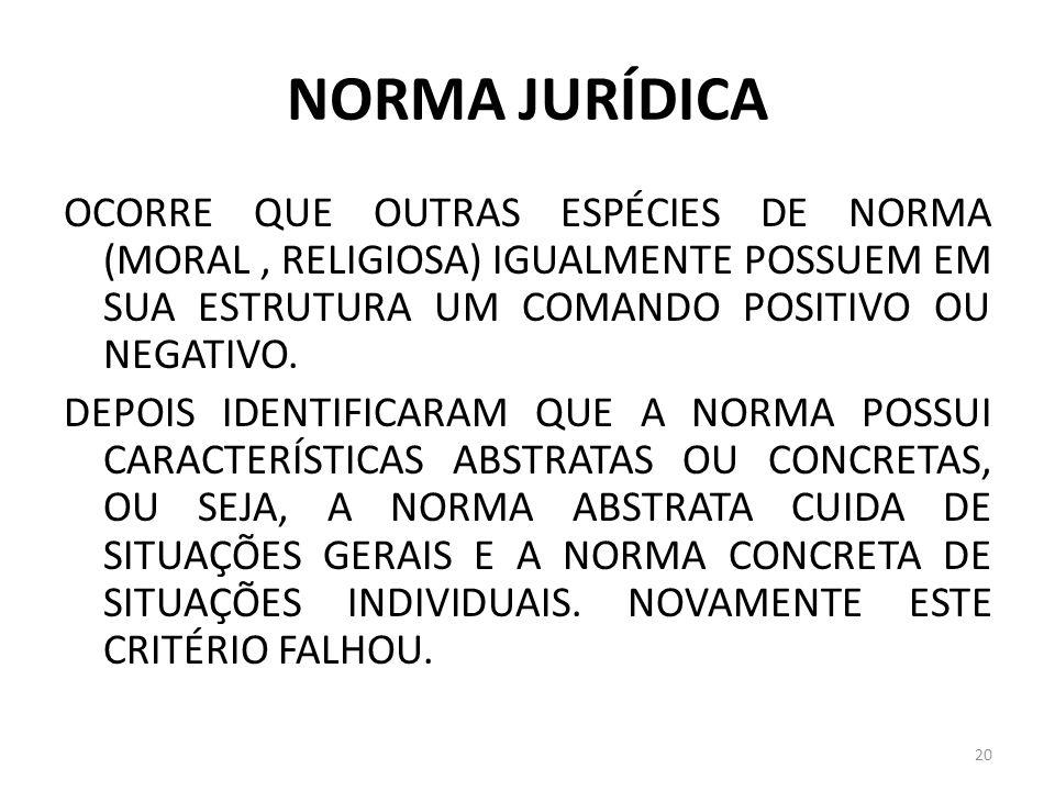 NORMA JURÍDICA OCORRE QUE OUTRAS ESPÉCIES DE NORMA (MORAL, RELIGIOSA) IGUALMENTE POSSUEM EM SUA ESTRUTURA UM COMANDO POSITIVO OU NEGATIVO. DEPOIS IDEN